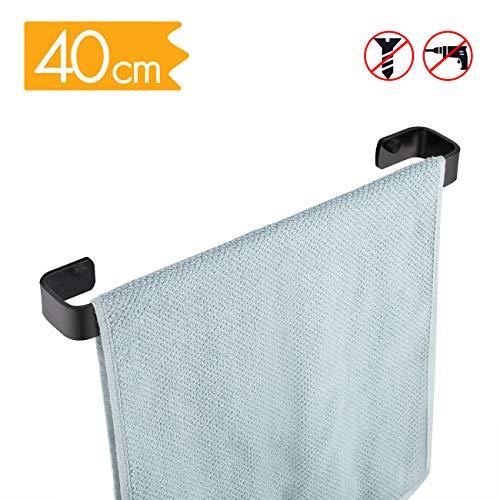 KES keukenhanddoek houder 40 cm vierkant geen boor aluminium badkamer handdoek spoor roestvrijstalen muur montage schoen rack mat zwart afwerking, A4300S40DG-BK