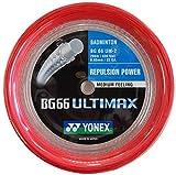 Yonex BG66 Ultimax Badminton String - 200m Reel, Color- Red