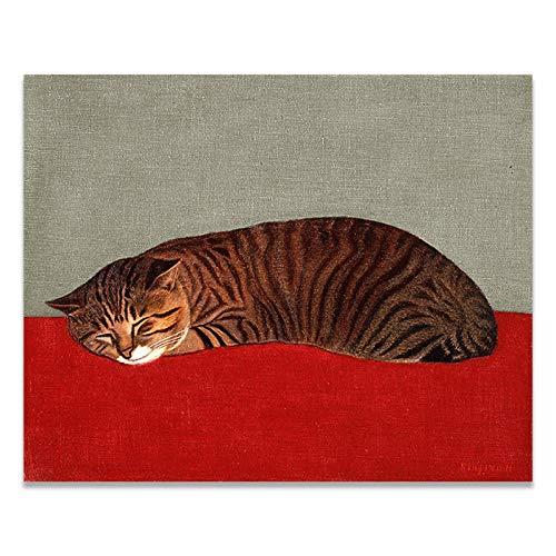 ZSHSCL kunstdruk op canvas, Ukiyoe, Japans, schattig, kat, slaapzak, kunst, canvas, grote grootte, geen lijst, Wall Art Poster foto, voor liveing, slaapkamer, Art Deko 30x40cm No Frame