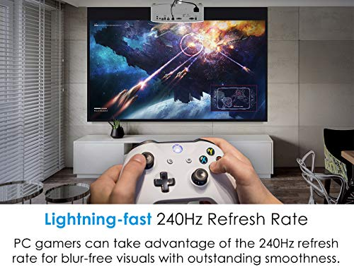 Optoma UHD30 True 4K UHD Gaming Projector   16ms Response Time with Enhanced Gaming Mode   Lowest Input Lag on 4K Projector   240Hz Refresh Rate   HDR10 & HLG