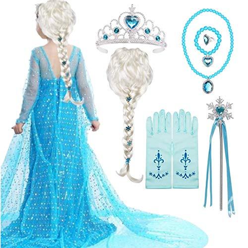 EMIN Prinzessin ELSA Kostüm Zubehör Set ELSA Perücke Zopf Prinzessin Krone Zauberstab Handschuhe Halskette Armband Prinzessin Frozen Schmuck für Kinder Mädchen Karneval Halloween