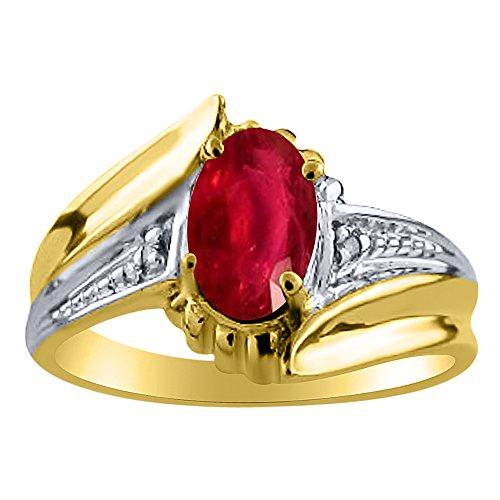 Para mujer RUBY & Diamond Anillo 14K Amarillo Oro