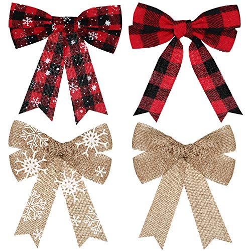 WILLBOND 20 Pieces Red Buffalo Plaid Bow Christmas Bows Snowflake Burlap Bows Rustic Holiday Decorative Bows for Christmas Tree Wreath Crafts DIY Bow Decorations