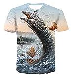 HOHHJFGG Camiseta para Hombre, Camiseta para Hombre, Pesca al Aire Libre, Verano para Hombre, Camisetas de Manga Corta, Cuello Redondo, Camiseta Informal para Hombre, Tops, Camisetas