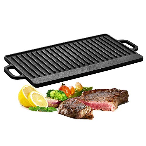 Velaze Cast Iron Griddle, Grill Pan Griddle Grill with Dual handles, Nonstick Griddle Grill Use On Open Fire & In Oven, Grilling Grill Perfect For meats Steaks Fish And Vegetables