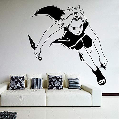 Pegatinas de pared de dibujos animados Anime Manga Naruto Shippuden Sakura Haruno Ninja Nursery Children's Room Decoration 59 x 58 cm