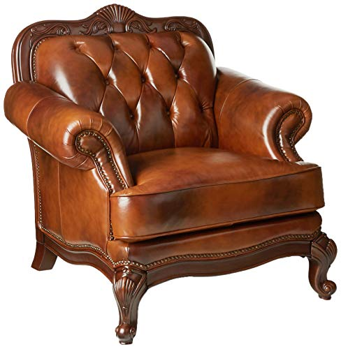 Victoria Rolled Arm Leather Chair Warm Brown