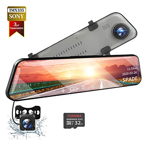 SPADE Mirror Dash Cam Backup Camera 12'' IPS Full Touch Screen,2560P+1080P Dual Lens Smart Rear View Mirror for Cars & Trucks, Sony IMX335 Parking Monitor with Night Vision & LDWS, Free 32GB TF Card