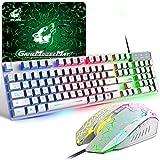 Teclado y Ratón Gaming Español, Teclado Arcoíris con Diseño QWERTY de 104 Teclas Raton de 2400 dpi Alfombrilla de Ratón, Cable USB, Compatible con Windows Mac PC PS4, Blanco®