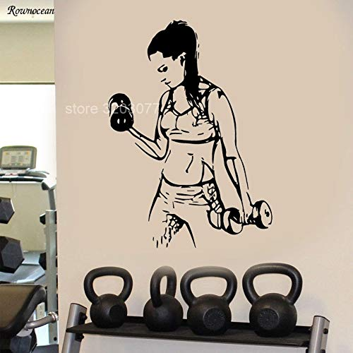 Muurtattoo, vinyl, voor sport, dames, fitness, gezondheid, decoratie, meisjes, kamer, afneembaar, wanddecoratie