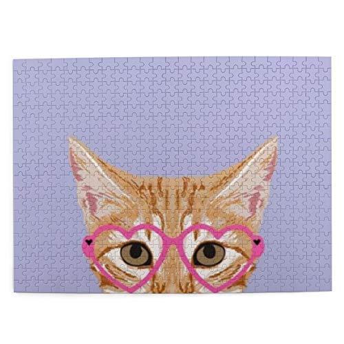 Orange Tabby Cute Hipster Gafas Gatito Lavanda Pastel Girly Retro Cat Picture Puzzle 500 Piezas de Juego de Madera Rompecabezas Adultos Niños Decoración del hogar 20.4x15 (Pulgadas)