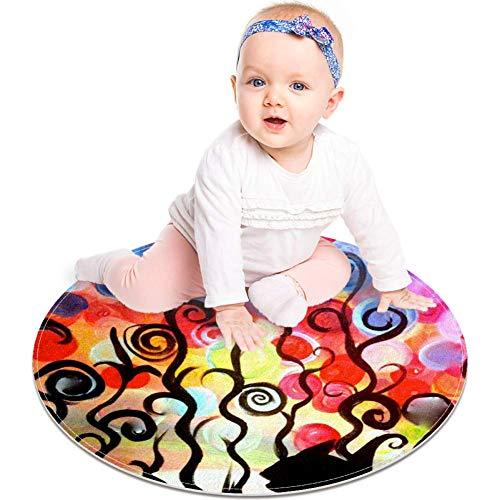 Colorido tapete de cubo de Rubik, antiderrapante, 23,6 pulgadas, alfombra de área redonda para dormitorio de niños, habitación de bebé, sala de juegos, guardería Multi 04 Talla:60x60cm/23.6x23.6IN