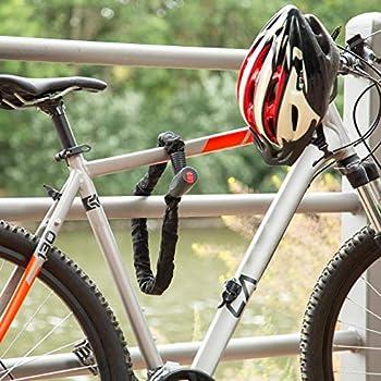 Relaxdays Antivol vélo, Cadenas, Chaine Anti-vol, 100 cm Long, Moto, 2 clés, Noir, 3,5 x 11,5 x 47 cm