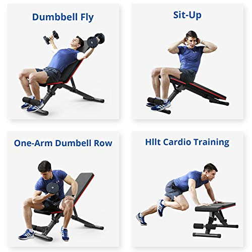 Cozy Castle 5-in-1 Workout Bench, Adjustable Strength Training Weight Bench, Foldable Flat Bench for Home Gym Strength Training, Incline Decline Wider Back Bench for Full Body Workout, 800LBS