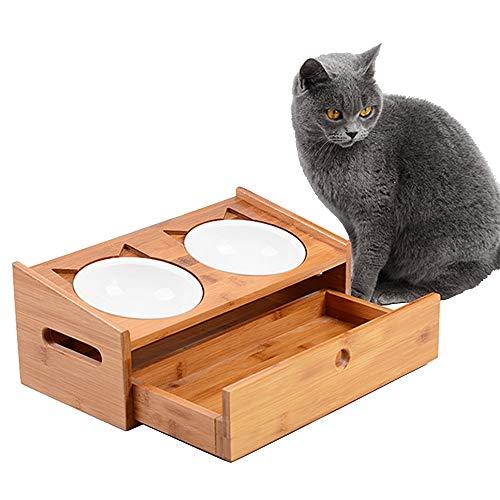 Jnzr Tazón de alimentación para Mascotas, Comida para Perros y tazón para Agua con diseño de cajón Tazón de Porcelana Doble de Madera Inclinación del ángulo Que Protege la vértebra Cervical