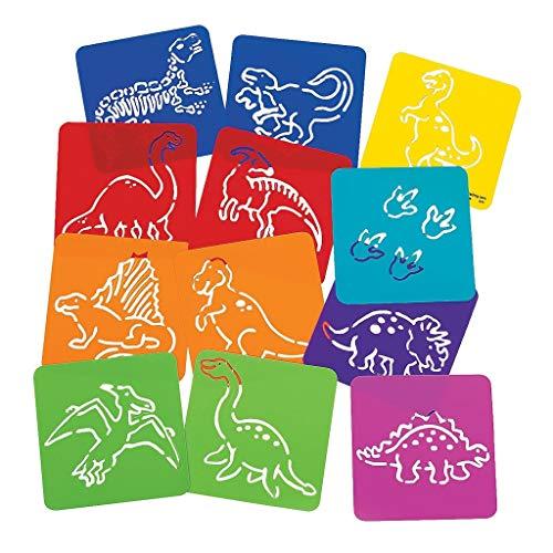 Elfen und Zwerge 12 x Dinosaurier Dino T-Rex Schablonen Urzeit Kindergeburtstag Mitgebsel Malen Zeichnen Basteln