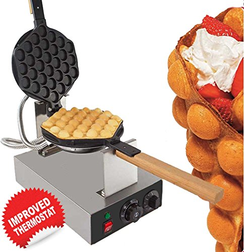 Cheapest Prices! GorillaRock Bubble Waffle Maker Electric Non Stick Egg waffle machine 360 Rotated S...