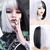FORCUTEU Black and White Wig Half Black Half White Wig with Bangs Cosplay Wig Costume Wigs for Women Girls Split Wig Halloween Party Use