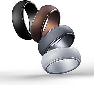 Cabepow Silicone Wedding Ring for Men, 4 Packs & Singles Silicone Rubber Wedding Bands - Step Edge Sleek Design - Metallic...