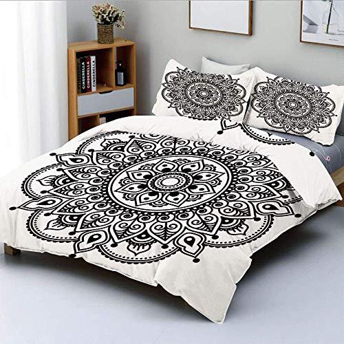 Juego de funda nórdica, estampado de flores étnico simétrico Diseño de mandala monocromo inspirado en la cultura oriental Juego de cama decorativo de 3 piezas con 2 fundas de almohada, blanco negro, e