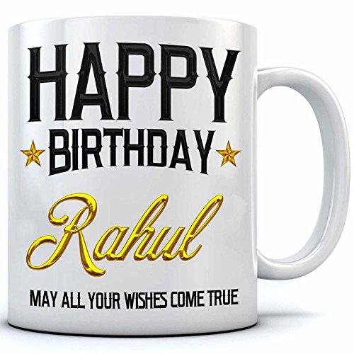 Happy Birthday Rahul Name Printed Ceramic Coffee Mug