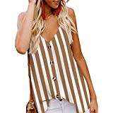 Psunrise Arriba Women's Button Down V Neck Striped Tank Tops Loose Casual Sleeveless Blouses(M, Brown)
