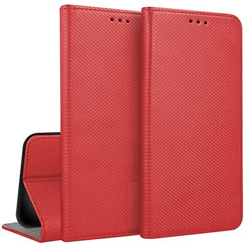 compatibile PER Asus Zenfone MAX PRO (M1) ZB602KL / ZB601KL (5.99) X00TD Copertura CUSTODIA cover STAND flip libro MAGNETICA GEL protezione ECO PELLE PORTAFOGLIO fornita vano carte (Rosso)