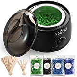 Wax Warmer, Hair Removal Waxing Kit, Anjou Electric Wax Heater with 4 Scents Hard Wax Bean and 15 Wax Applicator Sticks, DIY Depilatory Machine for Arm, Leg and Toe, Black