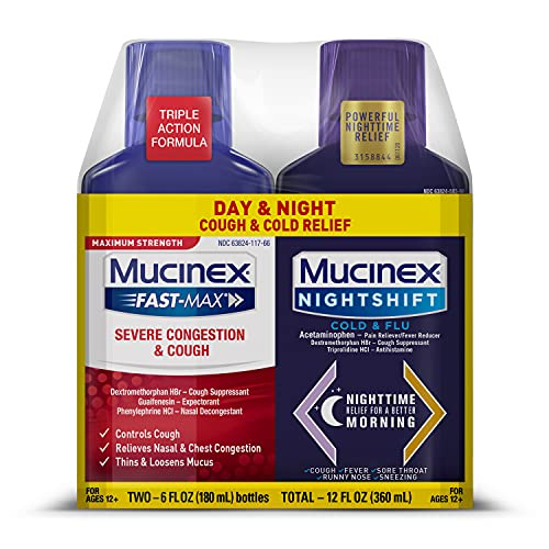 Mucinex Maximum Strength Severe Congestion & Cough & Nightshift Cold & Flu Liquid for Multi-Symptom Relief, 6 Fl Oz (Pack of 2)