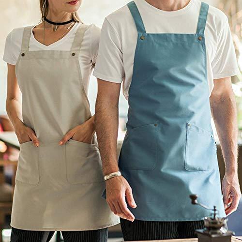 JUIC Polyester Baumwolle Crossback Schürze Cafe Barista Barkeeper Waitstaff Konditor Uniform Restaurant Hotel Bistro Cafe Arbeitskleidung, Beige