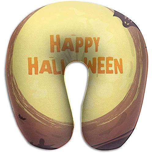 Happy Halloween Schiuma di Memoria a Forma di U per cuscino per Collo, cuscino da viaggio Unico per riposo, traspirante morbido confortevole regolabile