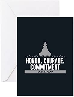 CafePress Navy Honor Courage Commitment Greeting Card, Note Card, Birthday Card, Blank Inside Matte