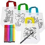 THE TWIDDLERS 10pcs Bolsas para Colorear, Bolsos DIY + 10 Lápices Textiles, Bolsa Infantiles Colorear Graffiti, Manualidades para Niños, Favores De Fiesta, Bolsas De Actividades, Regalos Cumpleaños