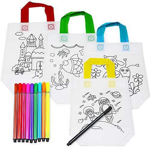 THE TWIDDLERS 20 Stück Färben Sie Ihr Eigenes Taschen Set für Kinder - 10 Graffiti Stoffbeutel zum Bemalen & 10 Farbstifte  DIY Basteln Kindergeburtstag Partytüten Geschenke.