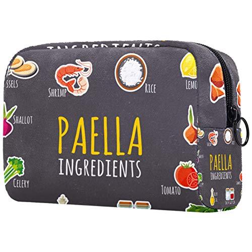 KAMEARI Bolsa cosmética Paella Ingredientes Patrón Grande Cosméticos Organizador Multifuncional Bolsas de Viaje