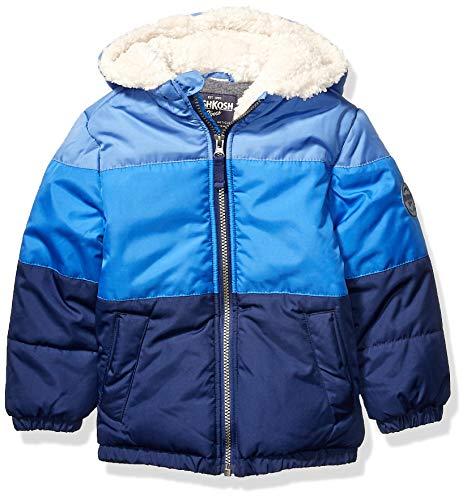 Osh Kosh Boys' Little Heavyweight Winter Jacket with Sherpa Lining, Blue Color Block Trio, 7