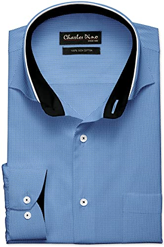 Charles Dino Men's White with Blue Basketweave Formal Casual Shirt