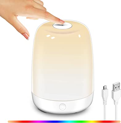 Widamin LED Mood Night Light, Touch Control USB Chargeable Bedside Table Lamp, Warm White Light + RGB Color Changing Modes for Baby Kids Bedroom and Living Room