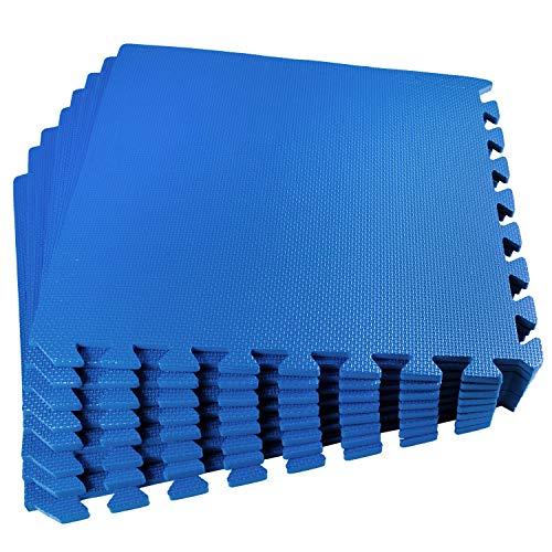Poolunterlegmatte blau 50x50x1 cm 56 x - 14m² - mit Rand - EVA - Pool Bodenschutz Poolmatte Bodenmatte Swimmingpool - Unterlage Schutz Stecksystem Puzzelmatte - Fitness Sportmatte Trainingsmatte