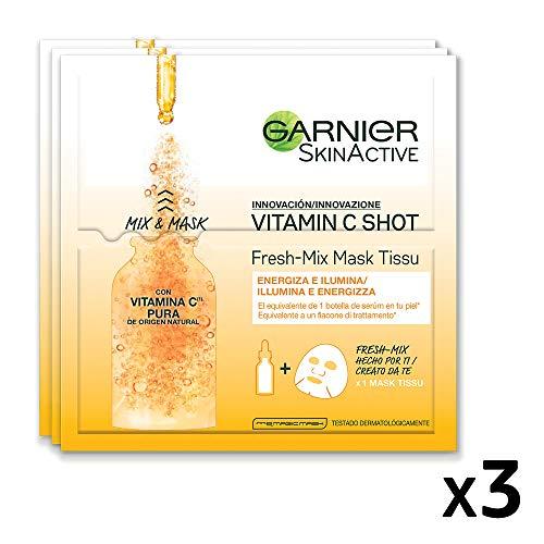 Garnier Maschera in Tessuto Skin Active Fresh Mix, Formula Arricchita con Vitamina C, Pelle Illuminata ed Energizzata, Confezione da 3 Pezzi