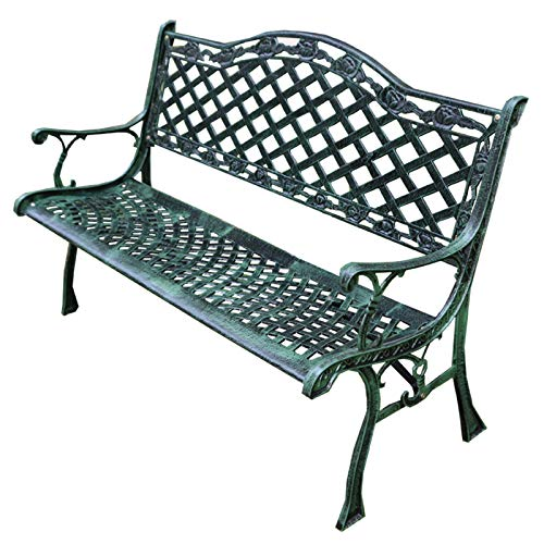 Outdoor Garden Metal Benches, Cast Iron Park Benches for Leisure Courtyards Terrace Seats, Porch Chairs with Backrests and Armrests, Furniture Entrance Benches for Lawn Work Passages