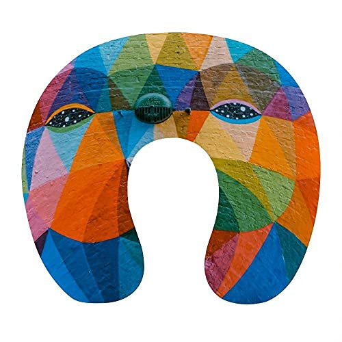 Almohada para Viaje Suave Viscoelastica 30x29x10 cm Almohada Viaje Cervical Transpirable Lavable Almohadas con Cremallera Relajarse Reposacabezas,Dibujos Animados de Arco Iris