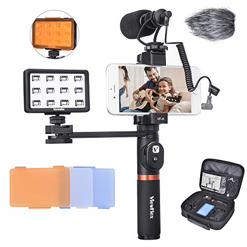Smartphone Vlogging Kit Viewflex VF-H6 Recording Kit with Camera Video Microphone, LED Light, Handheld Grip for iPhone Samsung Galaxy Google Pixel Android Smartphones, for TikTok YouTube Facebook etc.