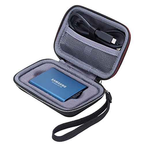 XANAD Case for Samsung T3 T5 Portable 250GB 500GB 1TB 2TB SSD USB 3.1 External Solid State Drives Storage Travel Carrying Bag (Inside Grey) (Not fit for Samsung T7/T7 Touch)
