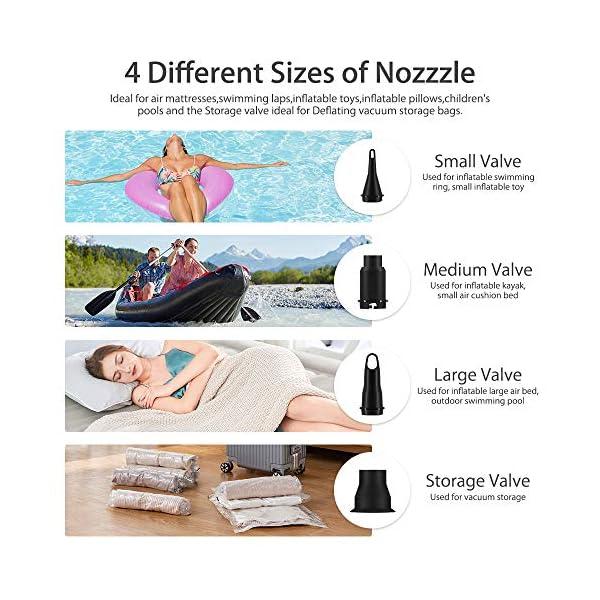 VEEAPE Bomba de Aire eléctrica, Bombas de inflado/deflactor de llenado rápido portátiles para Anillo de natación, Barcos… 1