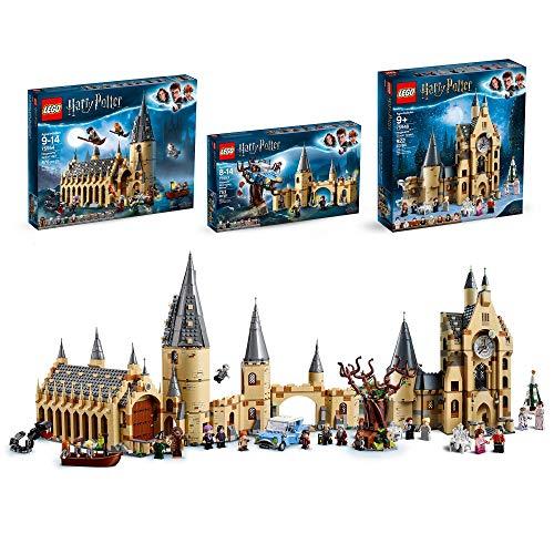 LEGO - Harry Potter Castello di Hogwarts, Bundle con 3 Set di Costruzioni con Sala Grande, Platano Picchiatore e Torre dell'Orologio