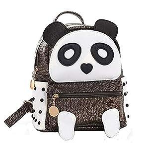 BAG WIZARD Fashion PU Rivet Bronze Mini Casual Style Panda Backpack Cute Backpack