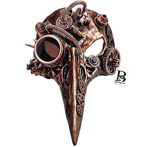 Steampunk Plague Doctor Mask Evil Long Nose Bird Devil Masquerade Ball Halloween Mask Cosplay (Copper)