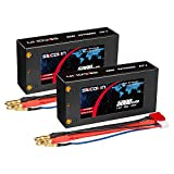 Socokin 7.4V 2S Lipo Battery 5000mAh 100C Shorty Hard Case RC Battery with 4mm Bullet Deans Connector for RC 1/10 Scale Vehicles Car Trucks Truggy Boat(2 Pack)