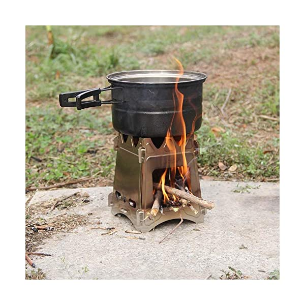 Lixada Camping Wood Stove Portable Wood Burning Stove Lightweight Alcohol Stove for Outdoor Cooking Backpacking Hiking Traveling (Titanium/Stainless Steel) 3